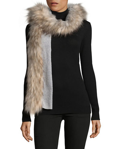Lauren Ralph Lauren Faux-Fur Trimmed Scarf-GREY-One Size