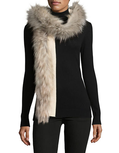 Lauren Ralph Lauren Faux-Fur Trimmed Scarf-NATURAL-One Size