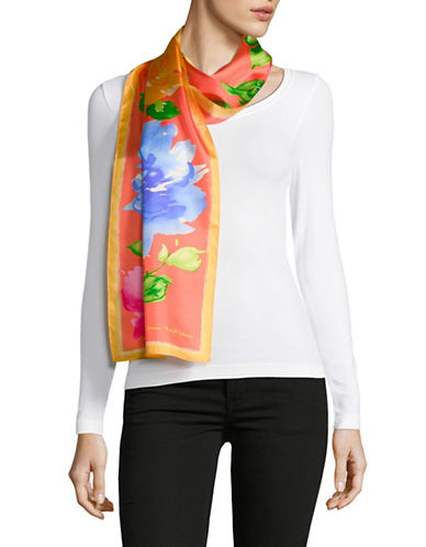 Lauren Ralph Lauren Floral-Print Oblong Silk Scarf-ORANGE-One Size
