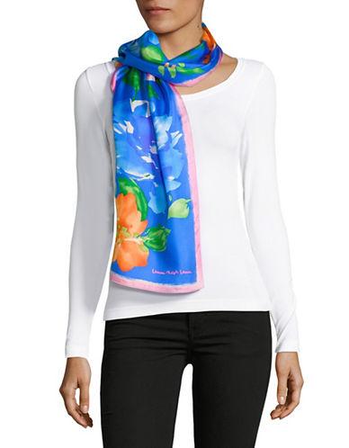 Lauren Ralph Lauren Floral-Print Oblong Silk Scarf-BLUE-One Size