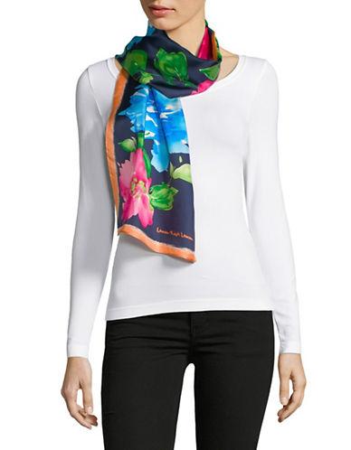 Lauren Ralph Lauren Floral-Print Oblong Silk Scarf-NAVY-One Size