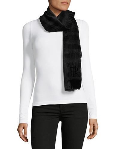 Lauren Ralph Lauren Velvet Burnout Scarf-BLACK-One Size