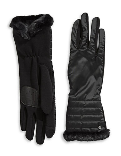 Lauren Ralph Lauren Faux Fur Tip Touchscreen Gloves-BLACK-Large
