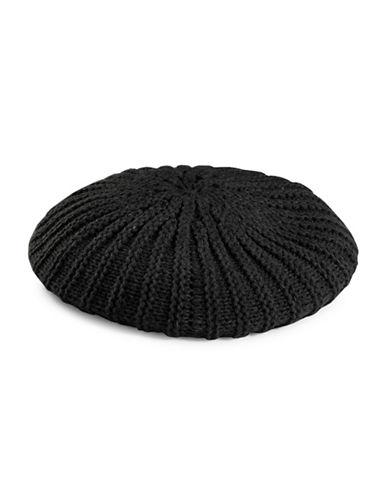 Lauren Ralph Lauren Chunky Garter Stitch Beret-BLACK-One Size