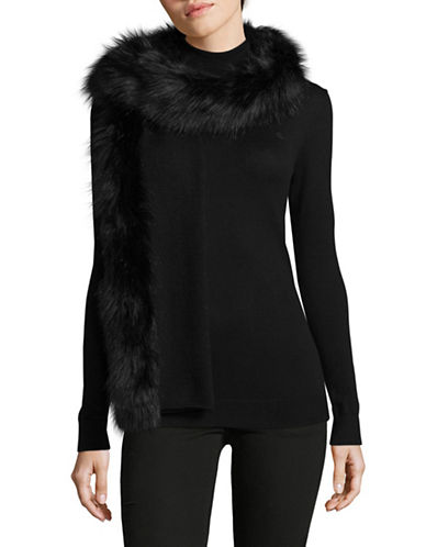 Lauren Ralph Lauren Faux-Fur Trim Scarf-BLACK-One Size