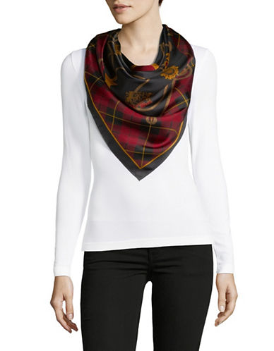Lauren Ralph Lauren Mixed Print Square Silk Scarf-BLACK-One Size
