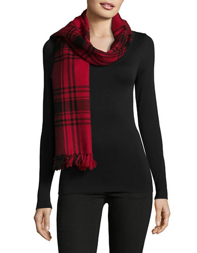 Lauren Ralph Lauren Wool Blend Icon Plaid Blanket Wrap-RED-One Size