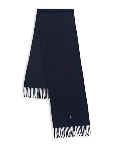Polo Ralph Lauren Fringed Italian Wool Scarf-NAVY-One Size
