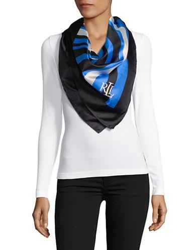 Lauren Ralph Lauren Striped Square Silk Scarf-BLUE-One Size