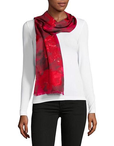 Lauren Ralph Lauren Floral-Print Oblong Silk Scarf-BURGUNDY-One Size