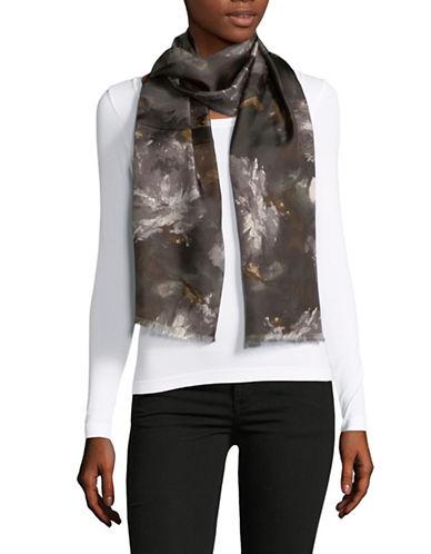 Lauren Ralph Lauren Floral-Print Oblong Silk Scarf-JET BLACK-One Size
