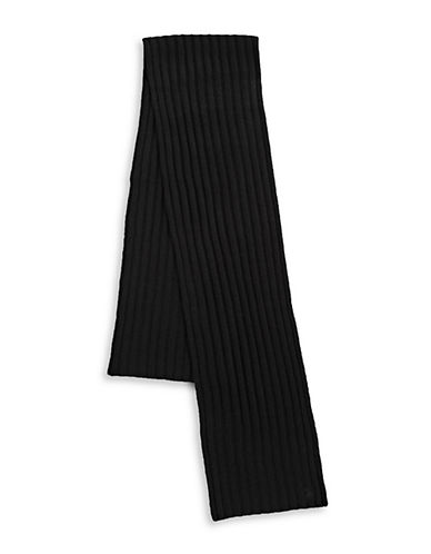 Polo Ralph Lauren Cashmere-Blend Wide Rib Knit Scarf-BLACK-One Size
