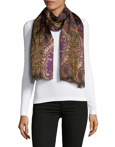 Lauren Ralph Lauren Patterned Silk Scarf-BLACK-One Size