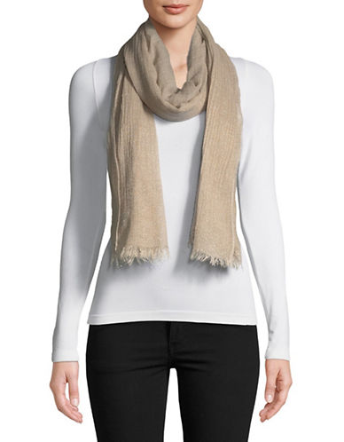 Lauren Ralph Lauren Wool-Blend Fringe Wrap Scarf-CAMEL-One Size