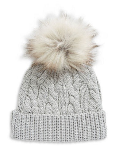 Lauren Ralph Lauren Hat with Faux-Fur Pom Pom-GREY-One Size