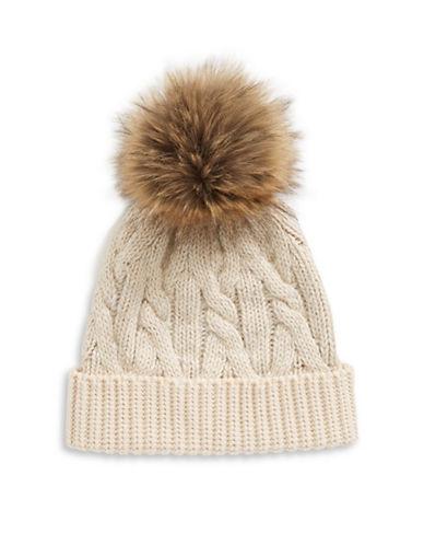 Lauren Ralph Lauren Hat with Faux-Fur Pom Pom-NATURAL-One Size