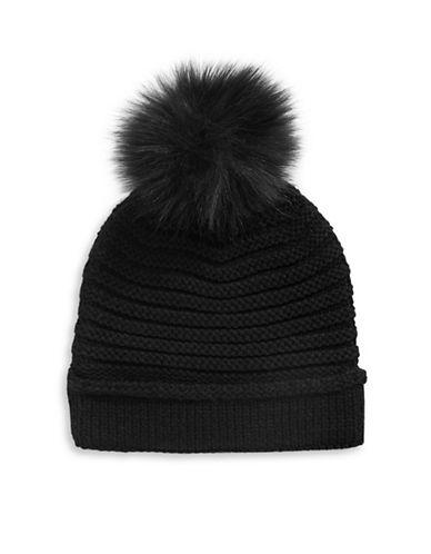 Lauren Ralph Lauren Chunky Garter Stitch Hat With Pom-BLACK-One Size