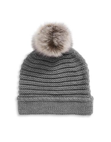Lauren Ralph Lauren Chunky Garter Stitch Hat With Pom-GREY-One Size