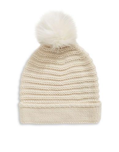 Lauren Ralph Lauren Chunky Garter Stitch Hat With Pom-NATURAL-One Size