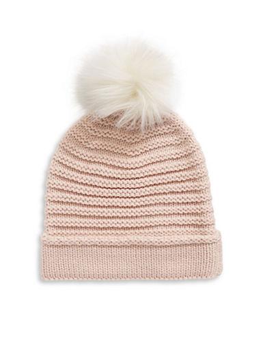 Lauren Ralph Lauren Chunky Garter Stitch Hat With Pom-PINK-One Size