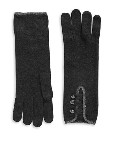 Lauren Ralph Lauren Military Detail Knit Gloves-GREY-One Size
