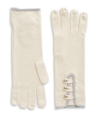 Lauren Ralph Lauren Military Detail Knit Gloves-NATURAL-One Size