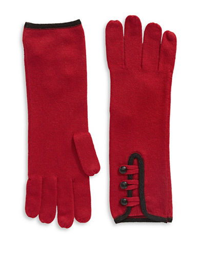 Lauren Ralph Lauren Military Detail Knit Gloves-RED-One Size