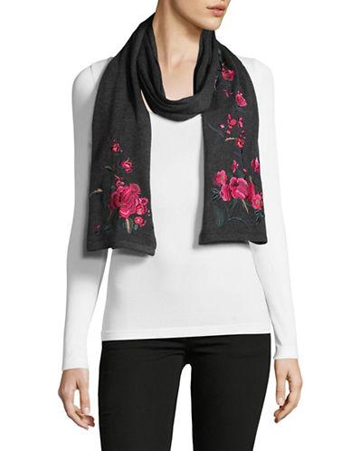 Lauren Ralph Lauren Chrysanthemum Embroidered Scarf-BLACK-One Size