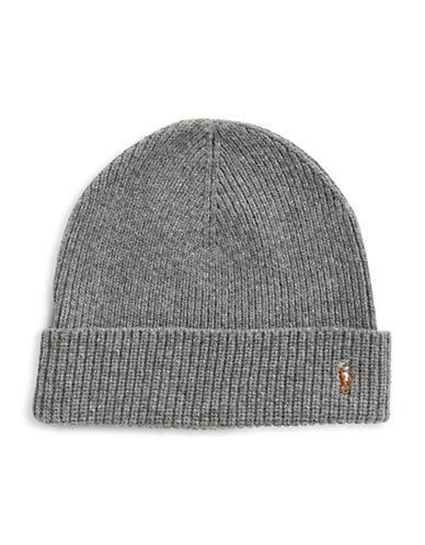 Polo Ralph Lauren Signature Merino Cuff Hat-DARK GREY-One Size