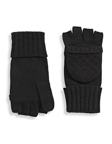 Lauren Ralph Lauren Quilted Suede-Look Pop Top Gloves-BLACK-One Size