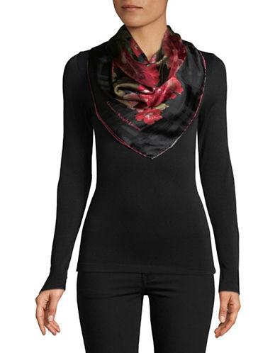 Lauren Ralph Lauren Floral-Print Square Silk Scarf-BLACK-One Size