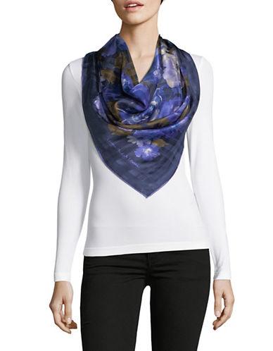 Lauren Ralph Lauren Floral-Print Square Silk Scarf-NAVY-One Size