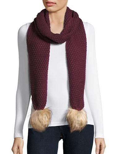 Lauren Ralph Lauren Moss Stitch Scarf with Faux Fur-DEEP WINE-One Size