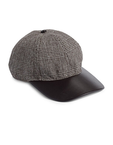 Lauren Ralph Lauren Glencheck Faux Leather Brim Cap-BLACK-One Size