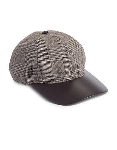 Lauren Ralph Lauren Glencheck Faux Leather Brim Cap-BROWN-One Size