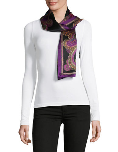 Lauren Ralph Lauren Silk Oblong Scarf-BLACK-One Size