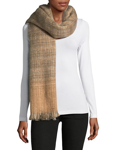 Lauren Ralph Lauren Boucle Textured Check Scarfs-BEIGE-One Size