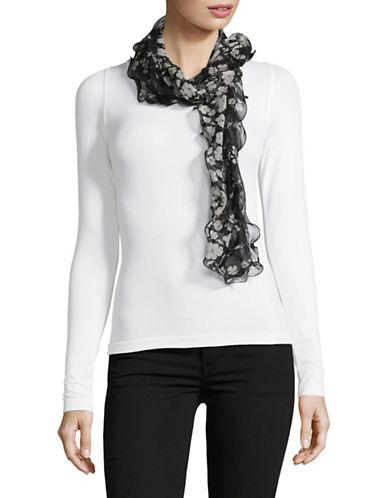 Lauren Ralph Lauren Silk Ruffle Scarf-BLACK-One Size