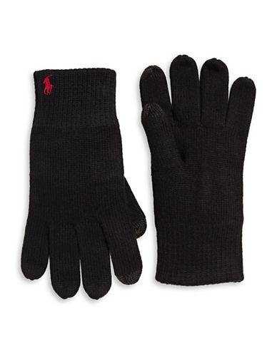 Polo Ralph Lauren Cotton-Blend Touch Gloves-BLACK-One Size