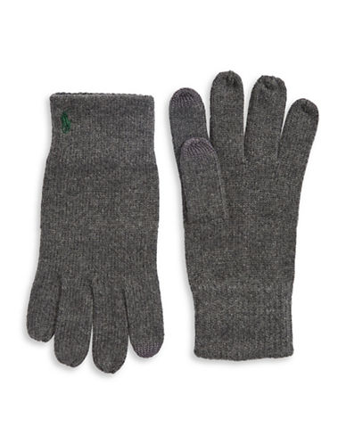 Polo Ralph Lauren Cotton-Blend Touch Gloves-GREY-One Size