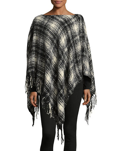 Lauren Ralph Lauren Tartan Plaid Poncho-BLACK-One Size