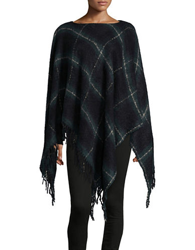 Lauren Ralph Lauren Tartan Plaid Poncho-GREEN-One Size