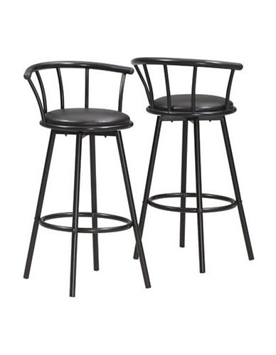 Monarch Set of Two Padded Swivel Barstools-BLACK-One Size