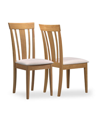 Monarch Set of Two Dining Chairs with Padded Seats-MAPLE-One Size