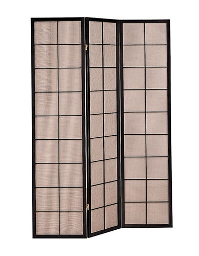 Monarch Three-Panel Fabric Folding Screen-BROWN-One Size