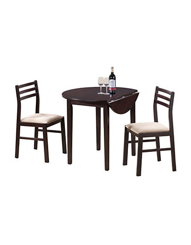 Monarch Three-Piece Dining Set with Drop Leaf-CAPPUCCINO-One Size