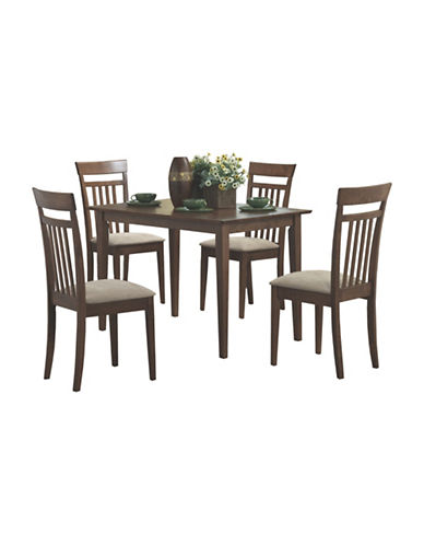 Monarch Five-Piece Slat-Back Dining Set-BROWN-One Size