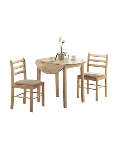 Monarch Three-Piece Dining Set with Drop Leaf-NATURAL-One Size