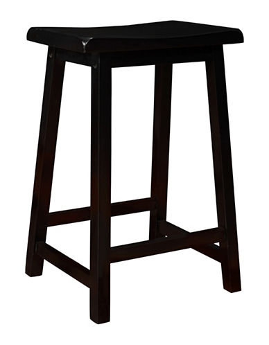 Monarch 24 Inch Saddle Seat Barstools Set of Two-BLACK-One Size