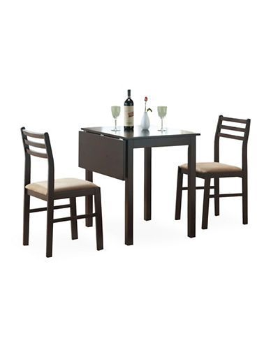 Monarch Three-Piece Solid-Top Drop Leaf Dining Set-CAPPUCCINO-One Size